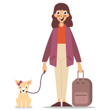 Young Girl With Suitcase And Dog