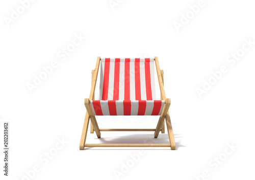 3d rendering of a white red deckchair in front view isolated on a white background Canvas Print