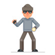 Flashlight grabbing hand evil greedily thief cartoon rogue bulgar character flat design isolated vector illustration