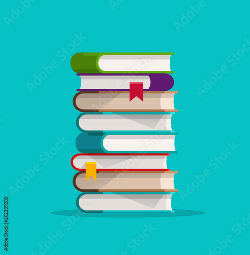 Fotografie, Obraz  Books stack or pile vector illustration, flat cartoon paper book stacked isolate