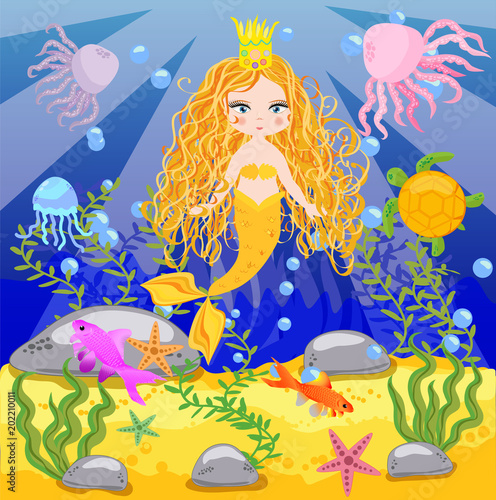 Wall Murals Mermaid Vector background with an underwater world in a children's style. A mermaid is sitting on a rock. Wooden chest with gold on the bottom of the sea. Seabed in a cartoon style.