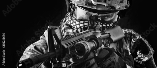 Fotografie, Obraz Macro portrait of military man sniper