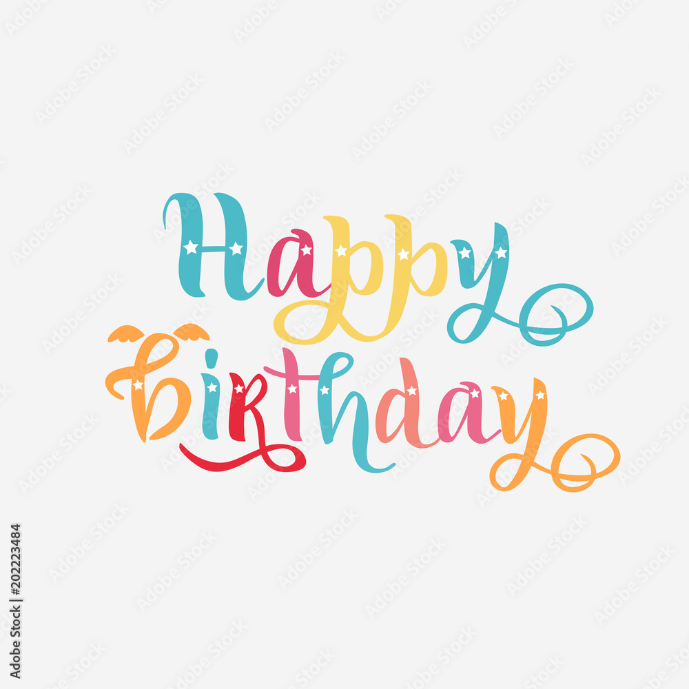 photo relating to Happy Birthday Tag Printable identified as Image Artwork Print Pleased birthday vibrant words as badge, tag