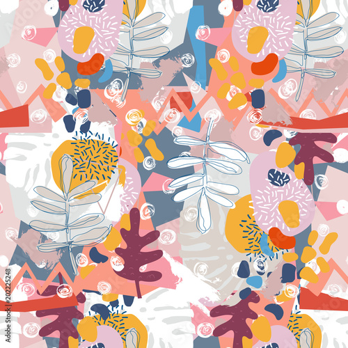Fototapety, obrazy: Abstract floral elements paper collage