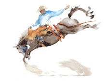 Horse Rodeo Watercolor Painting Illustration Isolated On White American Sport Wild West Tradition