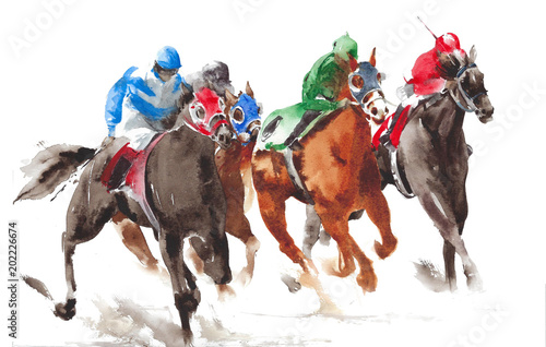 Fototapeta Horse racing watercolor painting illustration isolated on white background