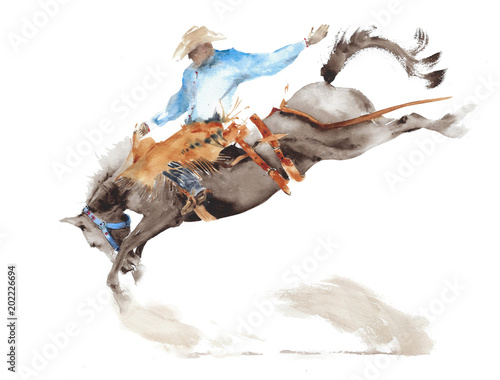 Fotografía  Horse rodeo watercolor painting illustration isolated on white american sport wi