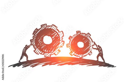 Fotografie, Obraz  Hand drawn people pulling cogwheels towards