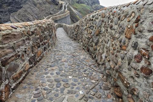 Photo  241 stone steps climb to Gaztelugatxe islet top-San Juan hermitage