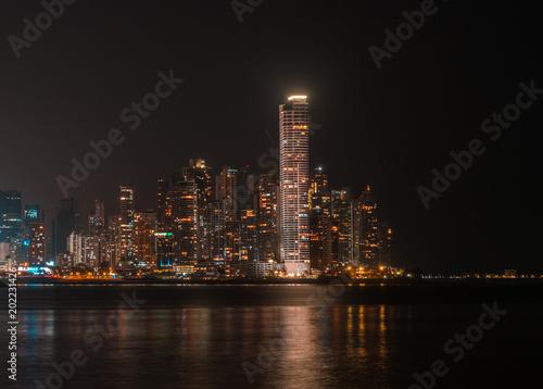 Fototapety, obrazy: city skyline at night - modern skyscraper buildings cityscape of Panama City at night