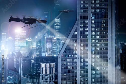 Luftverkehr (Drohentaxis) in einer Großstadt bei Nacht