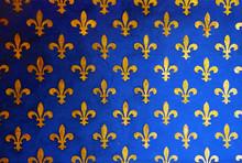 Blue Wall With Golden Fleur De...