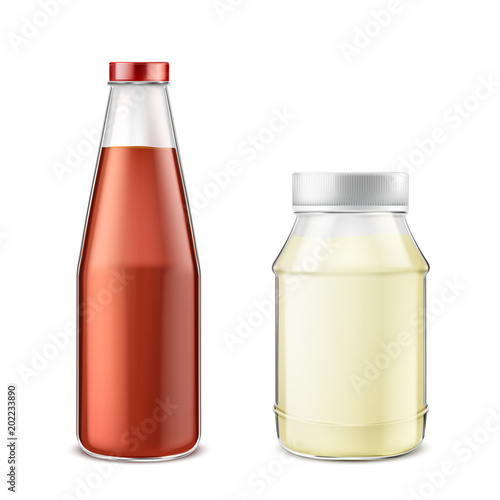 Vector realistic set of glass bottle with ketchup and jar with mayonnaise isolated on background Canvas Print