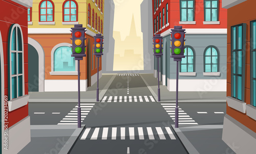 Staande foto Cartoon cars Vector city crossroads with traffic lights, intersection. Cartoon illustration of urban highway, street crosswalk. Town buildings view, architecture background.