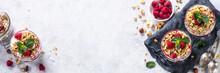 Yogurt Parfafait With Granola And Raspberries Top View.