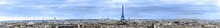 Aerial Panorama Over Roofs Of Paris Skyline With View Of Most Of Landmarks, Eiffel Tower, Invalides, Pantheon, Ferris Wheel, Madeleine, Grand Palais, Notre Dame, Sainte-Chapelle, Petit Palais, Trocaderro