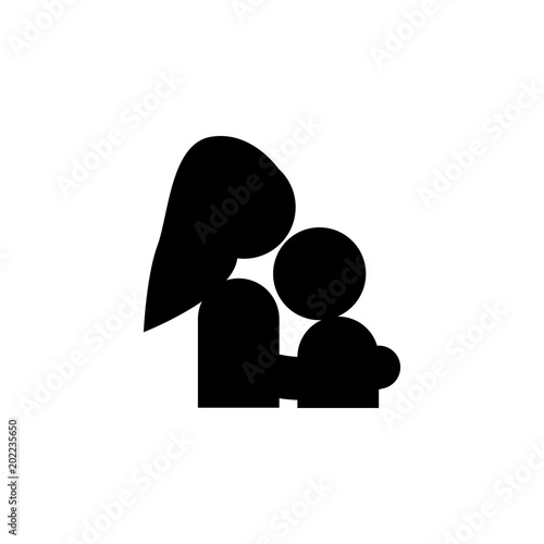 The Mother Hugs The Child Icon Element Of Mothers Day Icon Premium