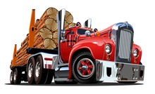 Cartoon Retro Logging Truck