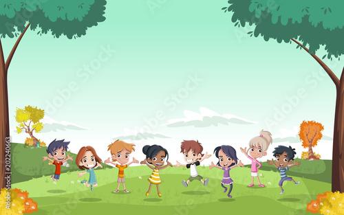 Szablon do broszury reklamowej z cute dzieci kreskówek