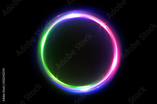 Fotografiet Abstract multicolor 3d illustration neon background luminous swirling Glowing circles