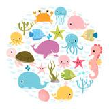 Fototapeta Fototapety na ścianę do pokoju dziecięcego - Cute colorful cartoon sea animals in circle for baby designs, kids invitations and summer greeting cards
