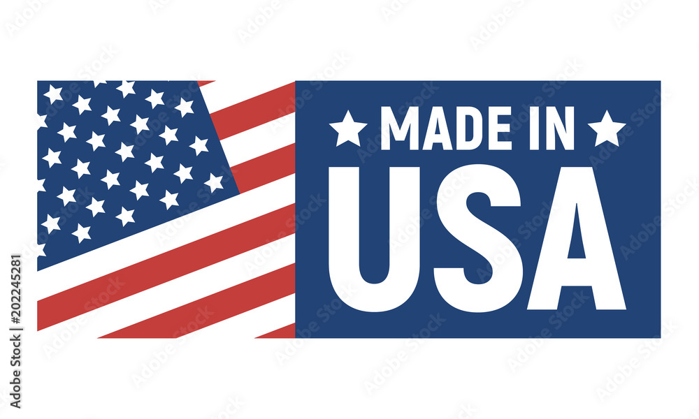 Fototapeta Made in USA label. American banner template. Vector illustration.