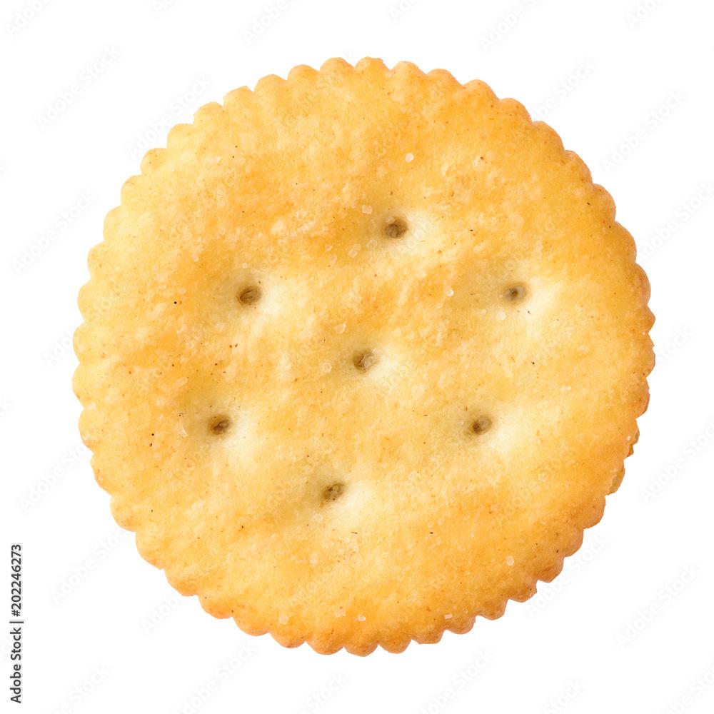 Fototapeta round cracker isolated on white background