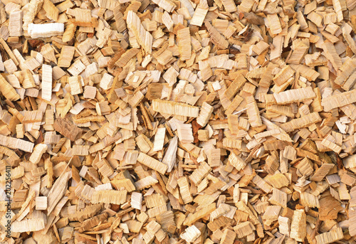 Fototapeta Wood chips of alder-tree for smoking or recycle