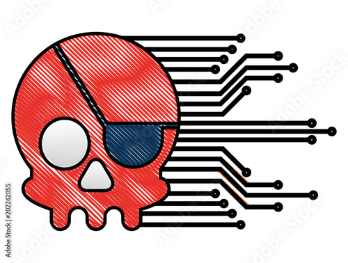 Fotografering cyber security skull piracy crime technology circuits vector illustration