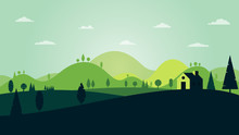 Green Silhouette Forest Landscape With House And Mountains Abstract Background.Vector Illustration.