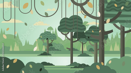 Montage in der Fensternische Khaki Green forest silhouette nature landscape abstract background flat design.Vector illustration.