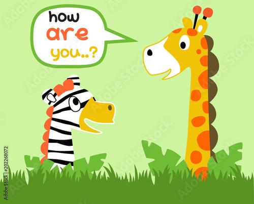żyrafa i zebra są najlepszym przyjacielem, ilustracja kreskówka wektor