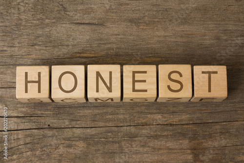 honest word written on wooden toy cubes Canvas Print