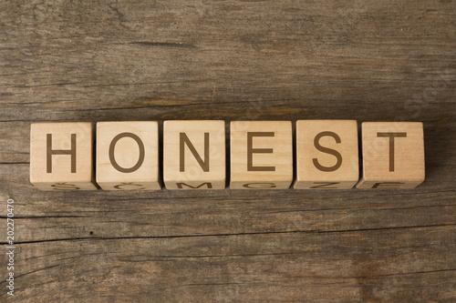 honest word written on wooden toy cubes Wallpaper Mural