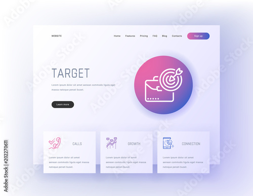 Photo  Target, Calls, Statistics, Growth, Connection Landing page template