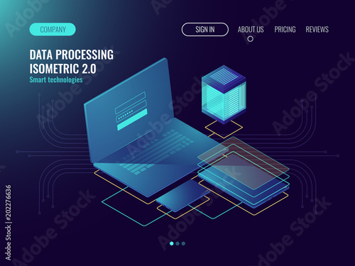 Web hosting, user interface development laboratory concept, data storage in cloud, database and data center icons dark neon isometric vecotr