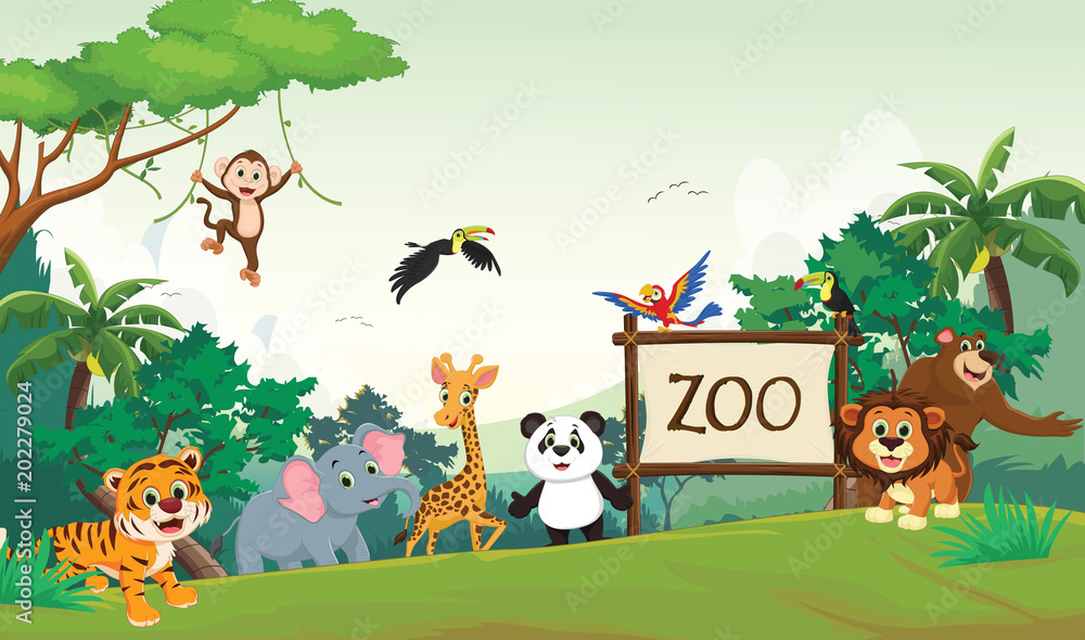 Fototapeta  illustration of funny zoo animal cartoon