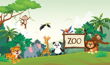 Illustration Of Funny Zoo Ani...