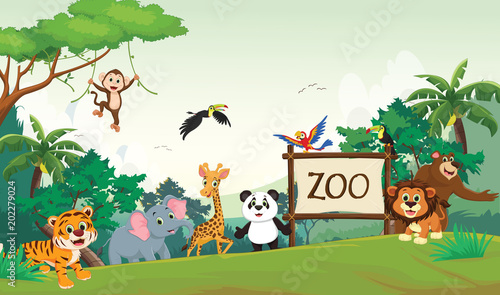 Fotografie, Obraz  illustration of funny zoo animal cartoon