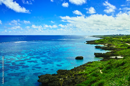 真夏の宮古島。イムギャーマリンガーデンからみる珊瑚礁の海