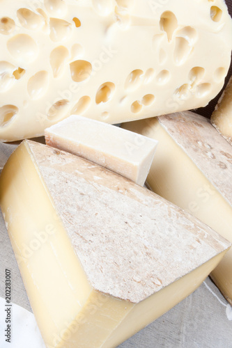 Collection of Gourmet pieces of cheese cut hard Wedges Served