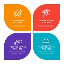 Flat Business, Education Infographic Timeline Template With Floral Shape For Presentations, Advertising, Annual Reports
