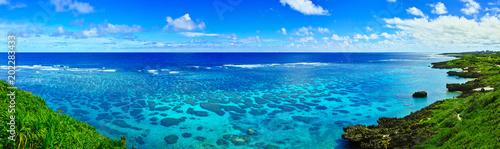 Tuinposter Kust 真夏の宮古島。イムギャーマリンガーデンからみる珊瑚礁の海(パノラマ)
