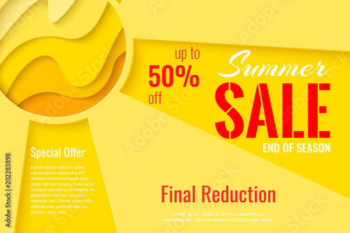 Summer Sale Template Banner Paper Cut Sun Vector Background Sunny