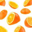 flying orange slices isolated on white background