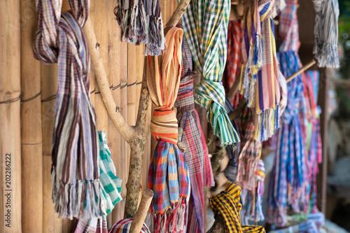 Foto op Aluminium Paradijsvogel bloem Loincloth fabric, traditional loincloth made from Thailand silk, Plaid Check Fabric loincloth Thai Style.
