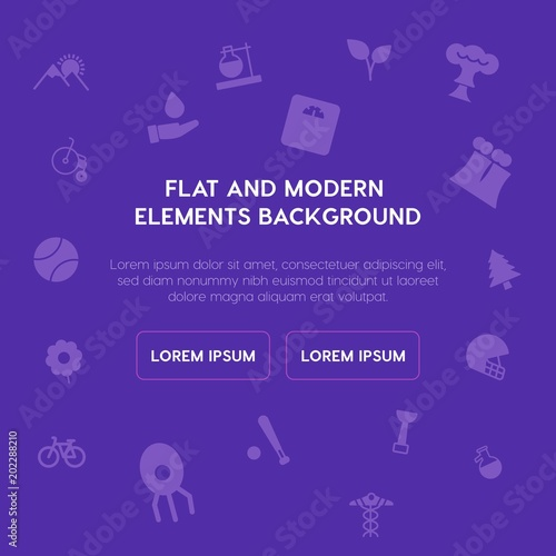 Spoed Foto op Canvas Violet health, science, sports, nature fill vector icons and elements background concept on purple background.Multipurpose use on websites, presentations, brochures and more