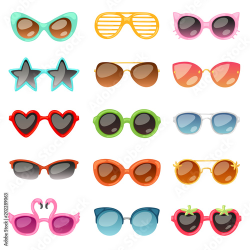 Obraz na plátne Glasses vector cartoon eyeglasses or sunglasses in stylish shapes for party and