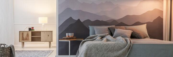 Mountain wallpaper in bedroom