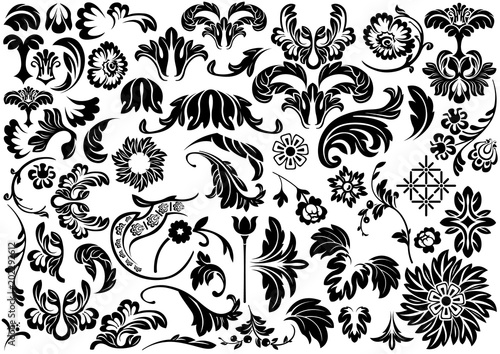 Set Of Damask Floral Reliefs Black And White Design Elements For